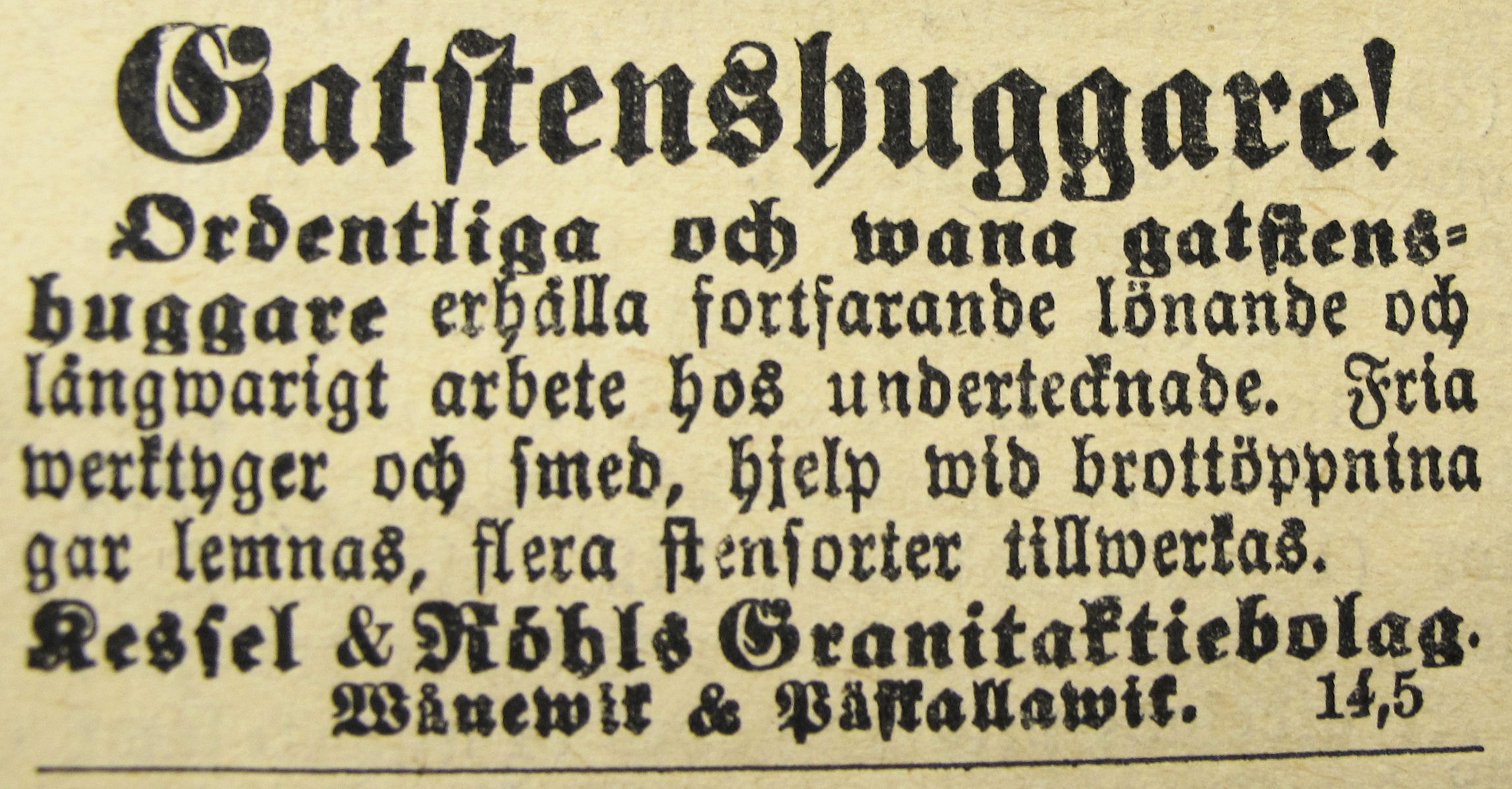 Annons Oskarshamns Posten 23 juni 1898